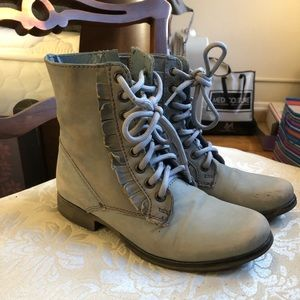 Light blue leather combat boots
